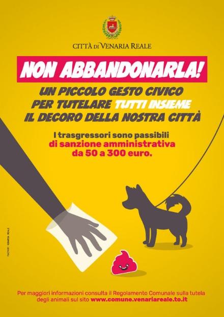 VENARIA - «Non abbandonarla!», campagna di sensibilizzazione alla raccolta delle deiezioni canine