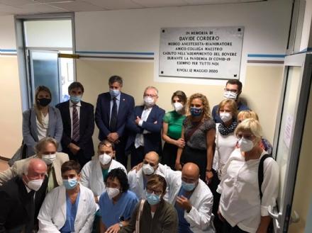 RIVOLI - La Rianimazione dedicata a Davide Cordero, il medico morto per Covid