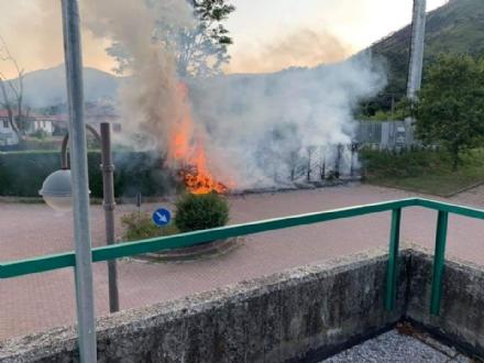 GIVOLETTO - Teppisti in azione: bruciata una siepe dietro al Municipio