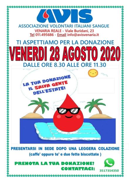 VENARIA - Venerdì 28 donazione mensile di sangue allAvis
