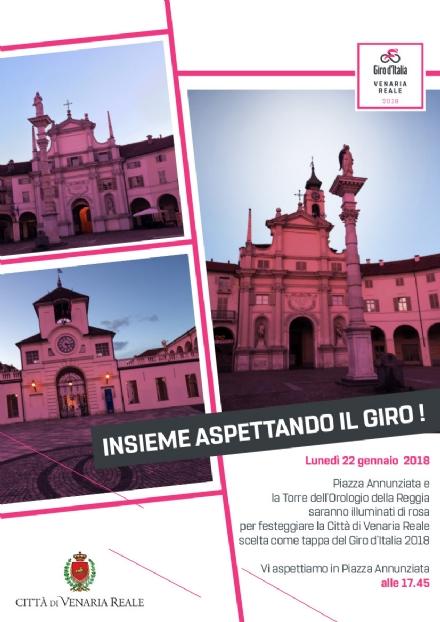 VENARIA - GIRO DITALIA 2018: Lunedì piazza Annunziata e la Torre dellOrologio illuminate di rosa