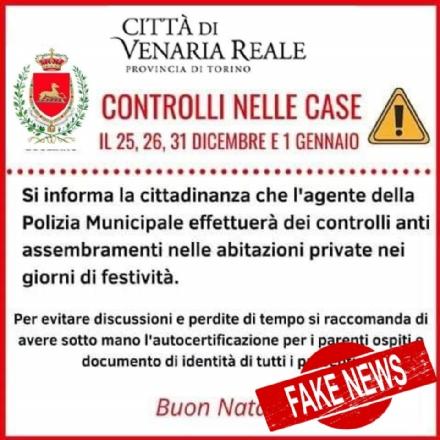 VENARIA OCCHIO ALLE TRUFFE - La polizia municipale non effettuerà controlli nelle abitazioni durante le feste