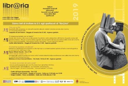 VENARIA - Libr@ria: gli appuntamenti in calendario fino a domenica 6 ottobre