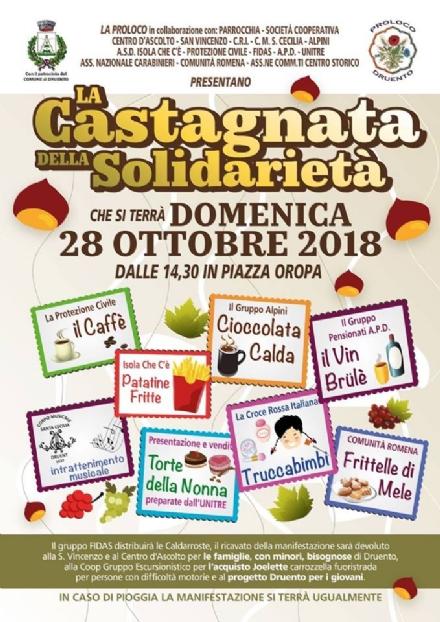 DRUENTO - Domani pomeriggio la «Castagnata della Solidarietà»