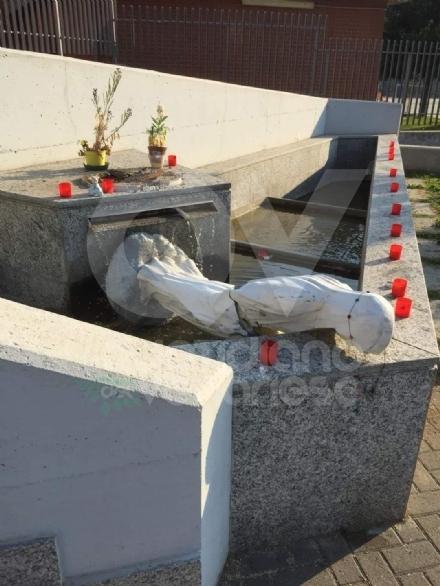 COLLEGNO - Idioti in azione: vandalizzata la statua della Madonna di via Vespucci