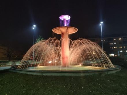 BORGARO - La fontana di via Italia si colora di giallo e viola in onore di Kobe Bryant