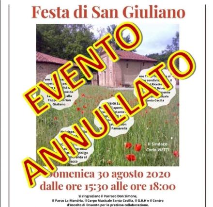 DRUENTO - Allerta meteo: annullata la Festa di San Giuliano