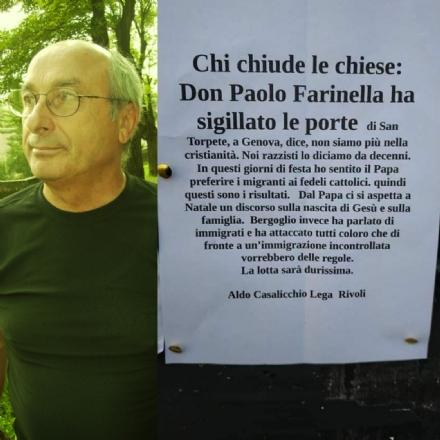 RIVOLI - Consigliere leghista affigge manifesti in città contro il Papa