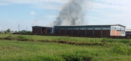 BORGARO-VILLARETTO - Azienda agricola in fiamme: bruciate 400 rotoballe di fieno