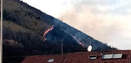 CAFASSE - Spento un nuovo incendio sul Monte Basso: lavoro per vigili del fuoco e Aib