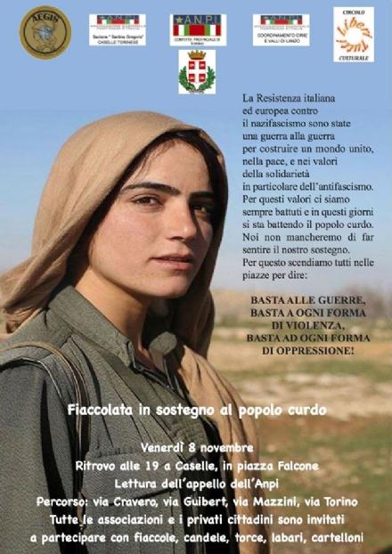CASELLE - Domani sera la fiaccolata dellAnpi di solidarietà al popolo curdo