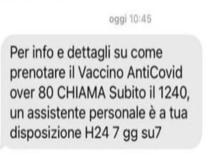 COVID - Sui telefonini ecco lsms che invita a prenotare il vaccino. La Regione: «non autorizzato»