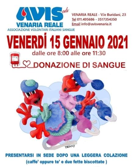 VENARIA - Dopo le 1.025 donazioni del 2020, venerdì 15 lAvis dà inizio al nuovo anno
