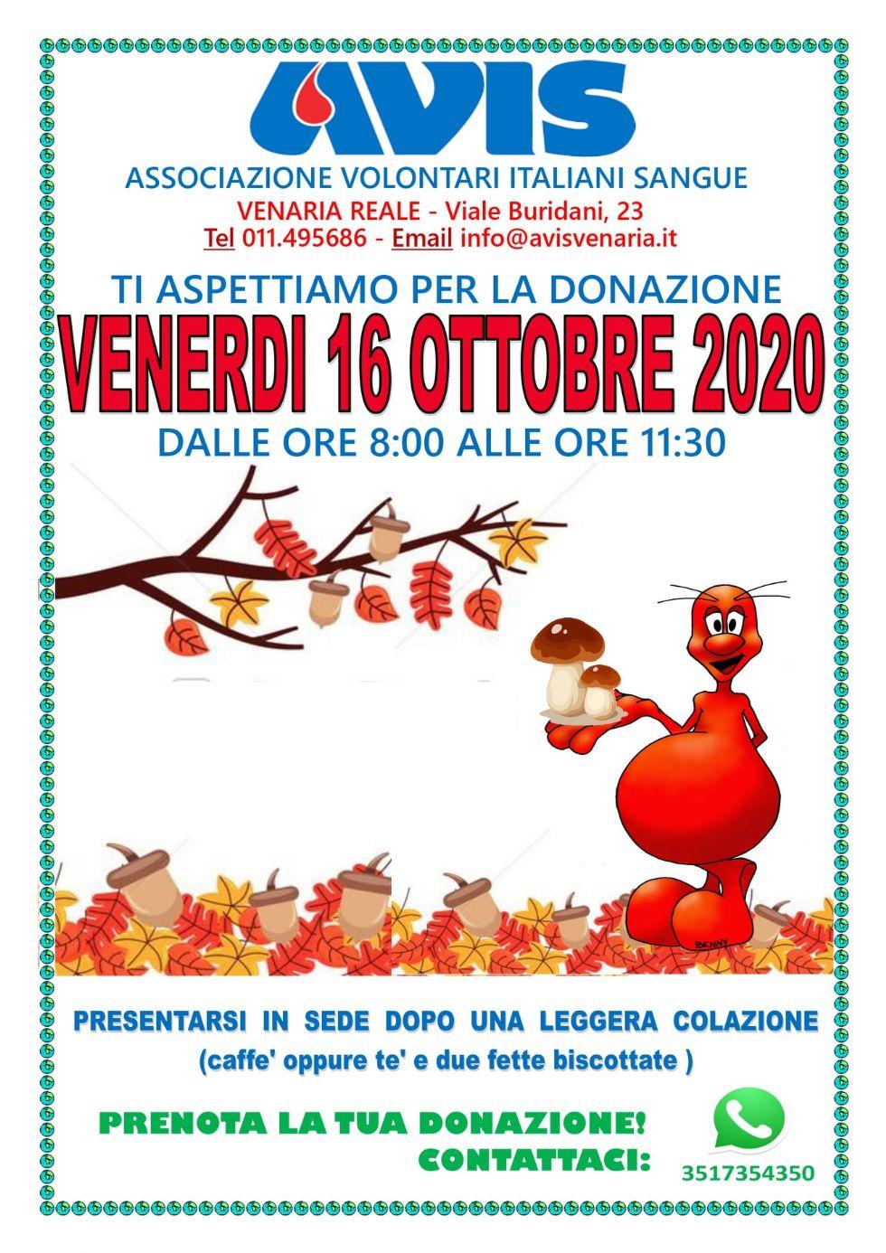 VENARIA - Venerdì mattina nuova donazione collettiva di sangue all'Avis