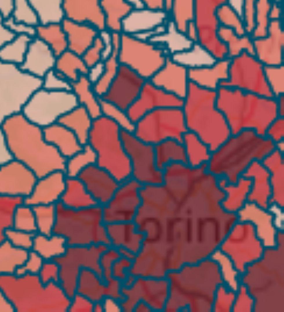 MAPPA CORONAVIRUS - Venaria 549, Borgaro 306, Alpignano 231, Pianezza 304; Rivoli in calo