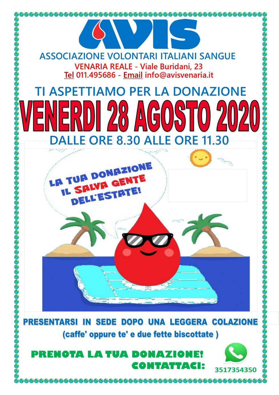 VENARIA - Venerdì 28 donazione mensile di sangue all'Avis