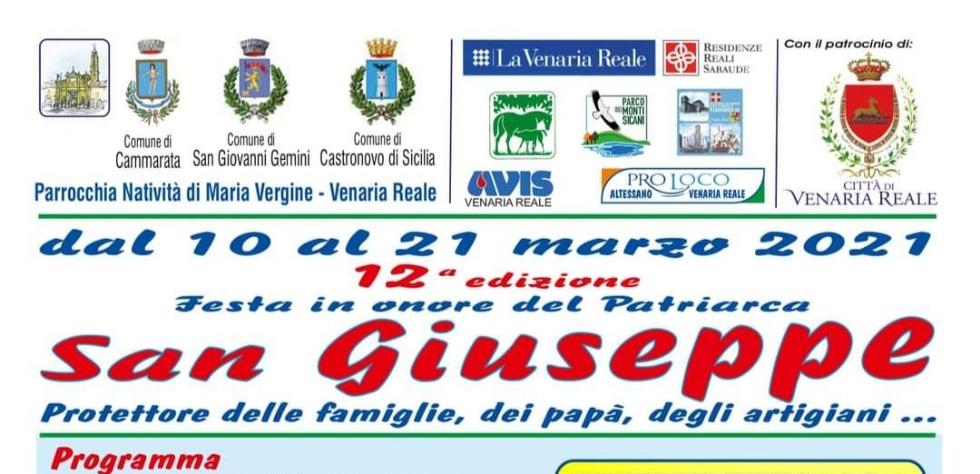 VENARIA - Entra nel vivo la Festa di San Giuseppe, ma la pandemia ridimensiona il programma