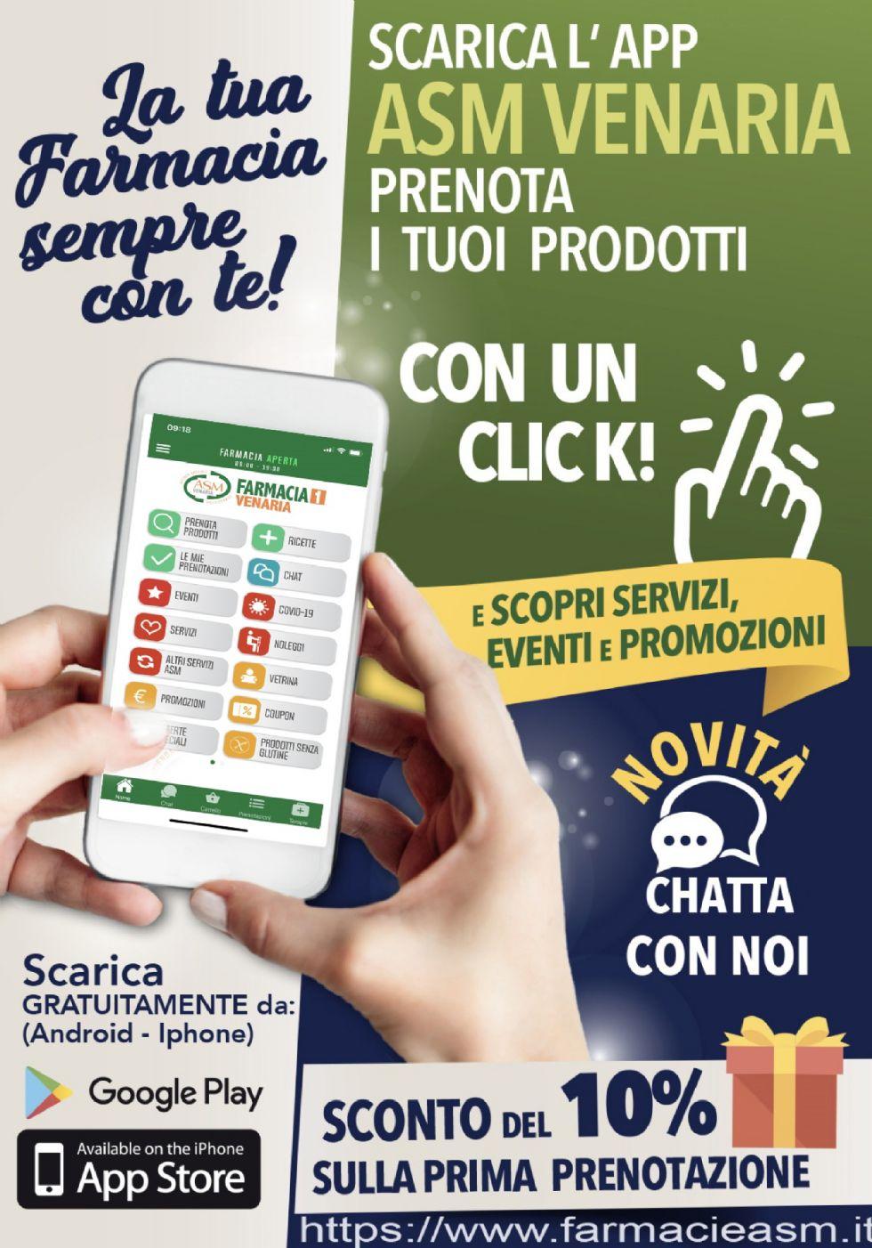 VENARIA - La nuova App delle farmacie comunali: farmaci, e non solo, prenotati con un click