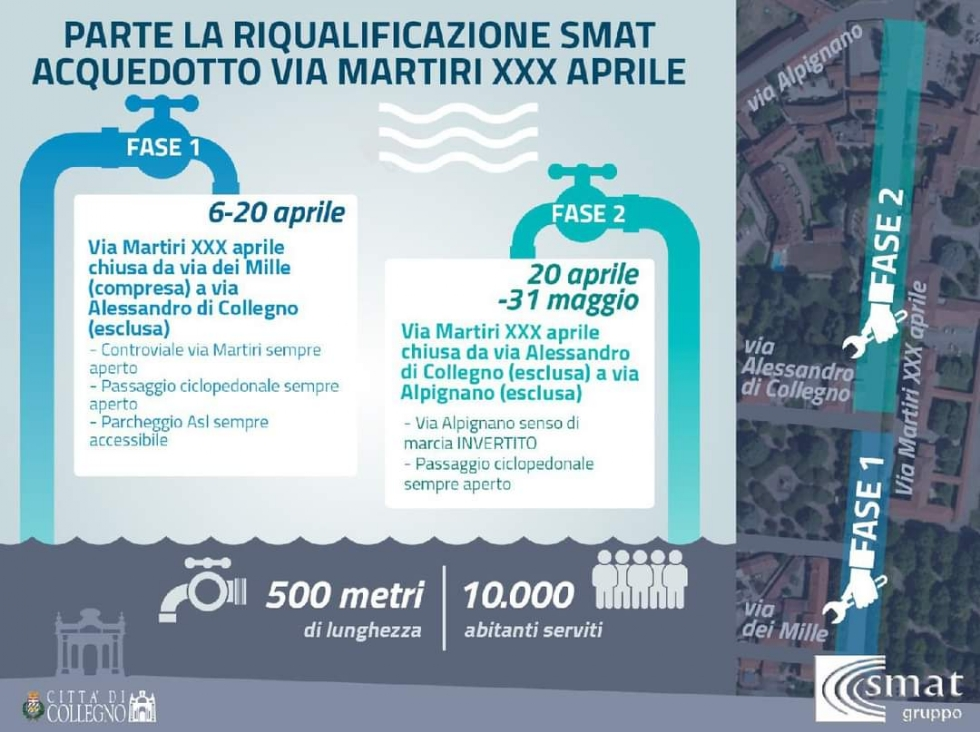 COLLEGNO - Dal 6 aprile via alla riqualificazione dell'acquedotto di via Martiri XXX Aprile