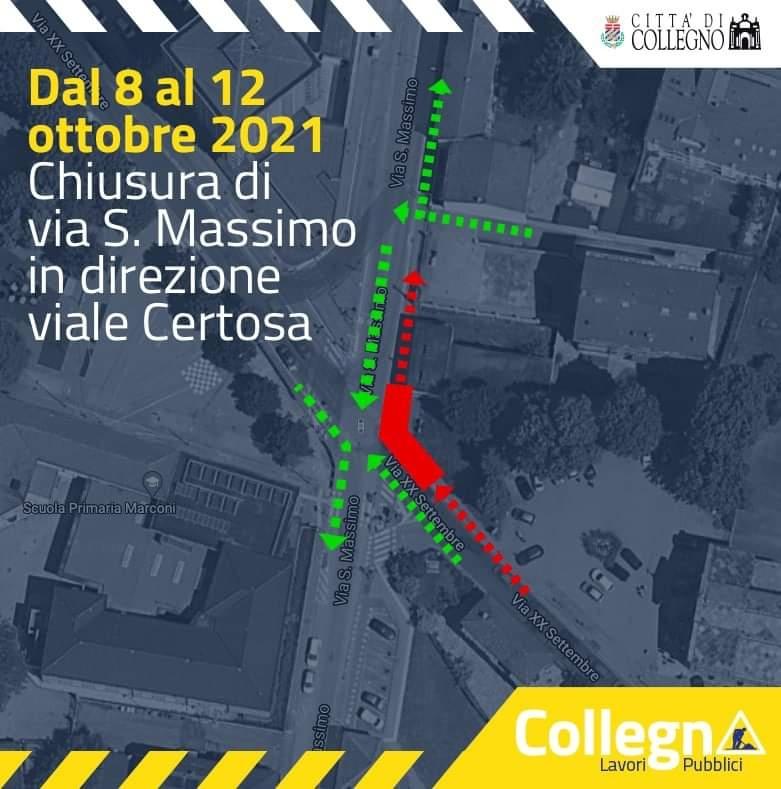 COLLEGNO - Lavori Italgas: chiusa via San Massimo in direzione di viale Certosa per quattro giorni